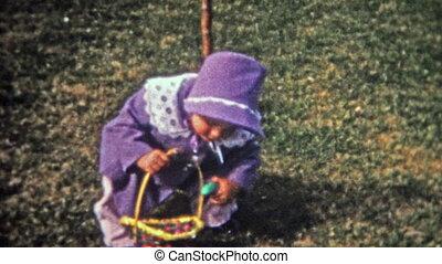 1952: Outdoor Easter egg hunt in - Unique vintage 8mm film...