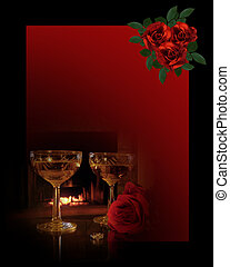 Romantic Background wine and roses - Image and illustration...