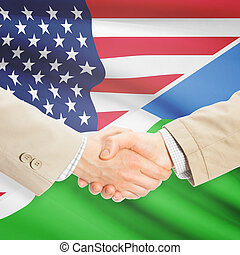 Businessmen handshake - United States and Djibouti -...