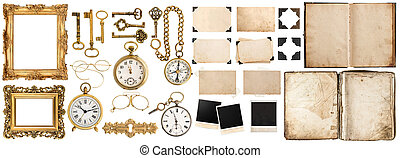Book, photo frames with corner, golden accessories isolated on white