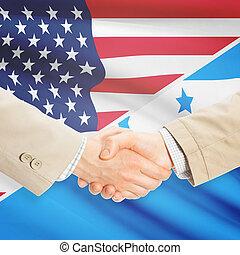 Businessmen handshake - United States and Honduras -...