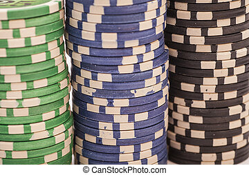 Stack of various poker chips