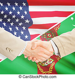 Businessmen handshake - United States and Turkmenistan -...