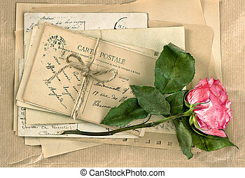 Old letters and rose flower Vintage handwriting Retro style...
