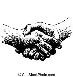 shaking hands - hand drawn illustration of shaking hands