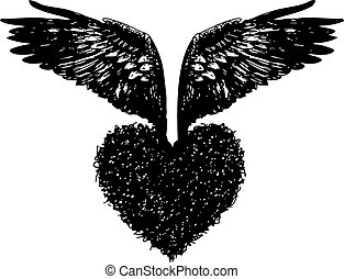 of heart with angel wings