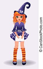Halloween redhair little witch, vector illustration