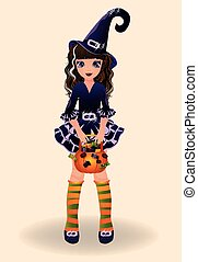 Halloween little witch and candy, vector illustration