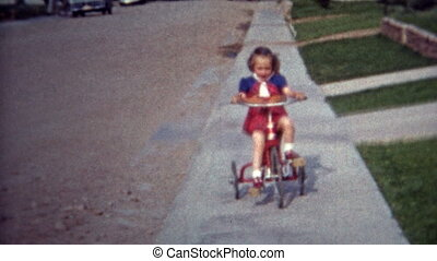1952: Sisters riding tricycle - Unique vintage 8mm film home...