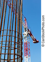Construction industry - Construction site. Steel...
