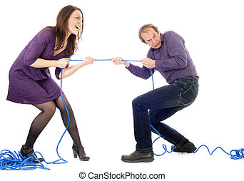 woman and man conflict - husband and wife in conflict...