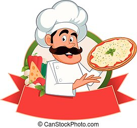 Italian chef with a pizza in hand, vector