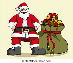 Christmas series: Santa Claus and gifts bag - Happy Santa...