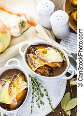 French Onion Soup - Homemade French onion soup with toasted...