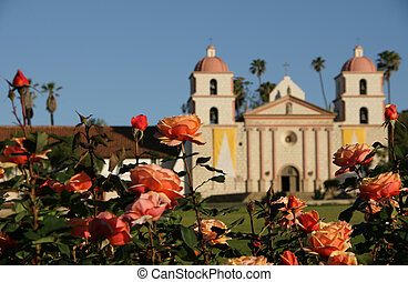 Mission flowers Santa Barbara - Rose garden with the Santa...