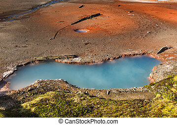 Hot spring - Beautiful blue hot spring. Artist's Paintpots...