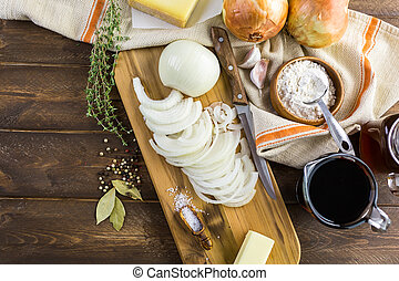 French Onion Soup - Ingredients for making French onion...