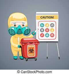 Caution Biohazard Poster with Doctor and Flipchart Clipping...