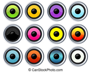 Twelve colorful speakers