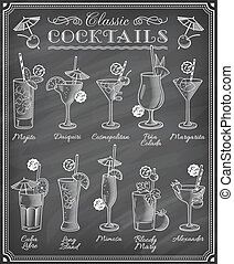 Famous Cocktails Illustrations Blackboard Menu - Set of ten...
