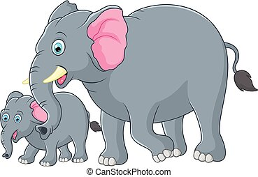 Mother and baby elephant - vector illustration of Mother and...