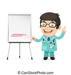 Doctor With Marker in Front of the Flipchart Isolated on...