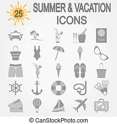 Summer, travel and vacation icon set.