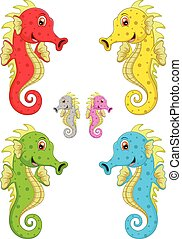 Sea horse cartoon - vector illustration of Sea horse cartoon