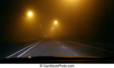 Driving in fog - Driving on a foggy night on a main road