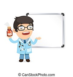 Doctor With Pills in Front of the Whiteboard Isolated on...