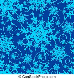 Winter blue seamless pattern with snowflakes