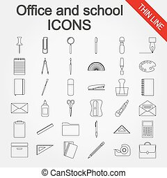 Office and school supplies icons set - Office and school...