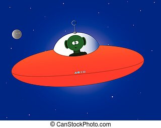 Flying Saucer - Flying saucer and alien over a star...