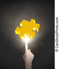 Human finger pointing at jigsaw puzzle piece with bright...