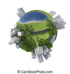 cidade, globo, negócio, terra