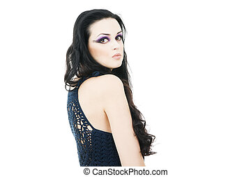 Portrait of a beautiful young woman on a white background....