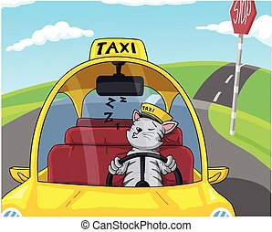 Sleeping cat driving taxi