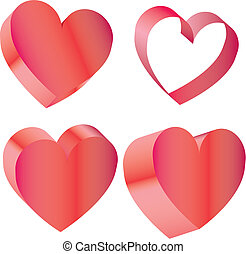 Ilustration of a red 3D heart pattern background - Set of...