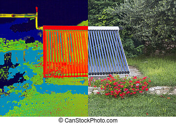 Infrared and real image of Vacuum solar water heating system