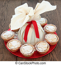 Christmas Pudding and Pies - Christmas pudding in a muslin...