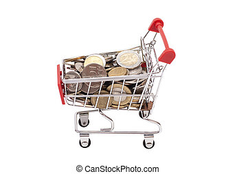 Shopping cart with coins on white background