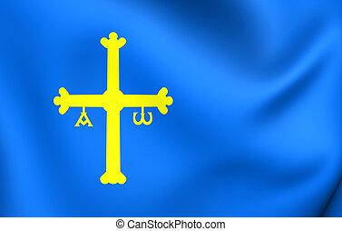 Principality of Asturias Flag, Spain. Close Up.