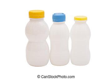 botellas, Bebida, aislado, biótico, Plano de fondo, yogur,...