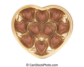 Heart shaped candy box for Valentine's Day isolated on white