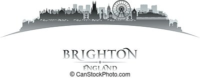 Brighton England city skyline silhouette white background -...