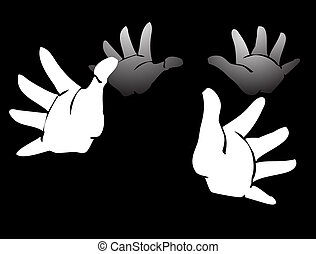 Clapping - two sets of gloved hands clapping in darkness.