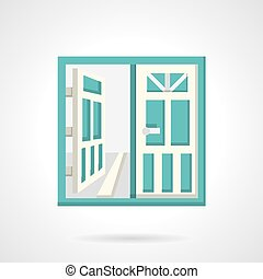 Open glass doors flat vector icon - Double glass doors with...
