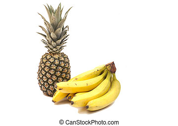 Bunch Of Bananas And Pineapple