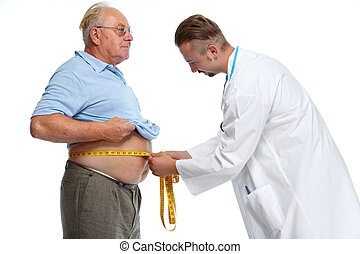 Doctor measuring obese man body fat. - Doctor measuring...
