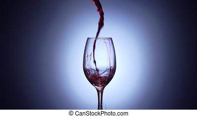 7 Glass Filled With Red Wine In Super Slowmotion 240p -...